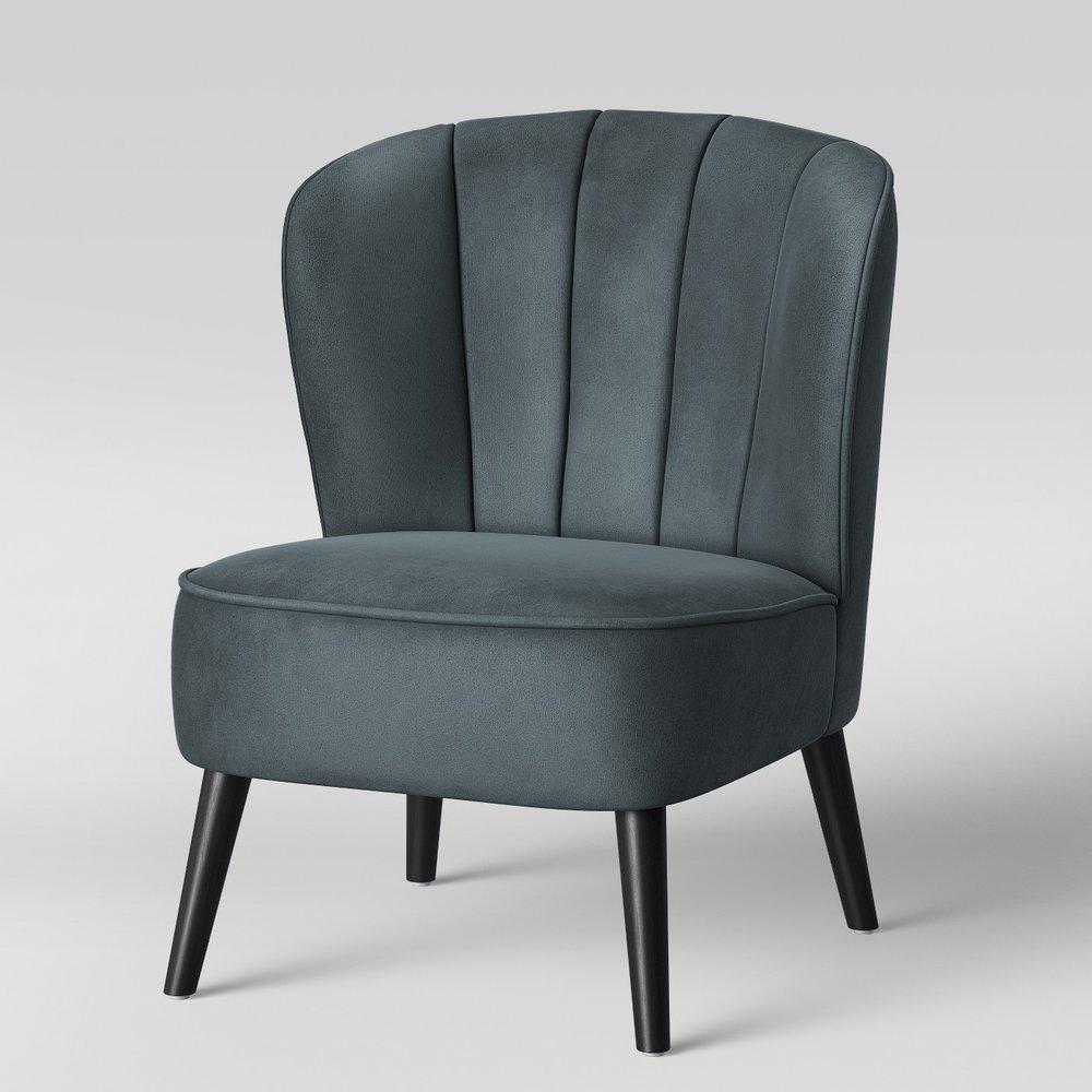 Primrose Chanel Back Tufted Velvet Accent Chair