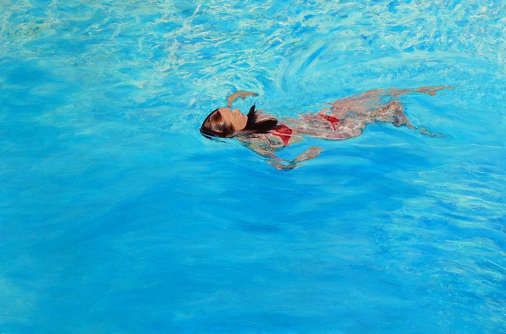 """Swim2""  Acrylic on Canvas 60""x40"""
