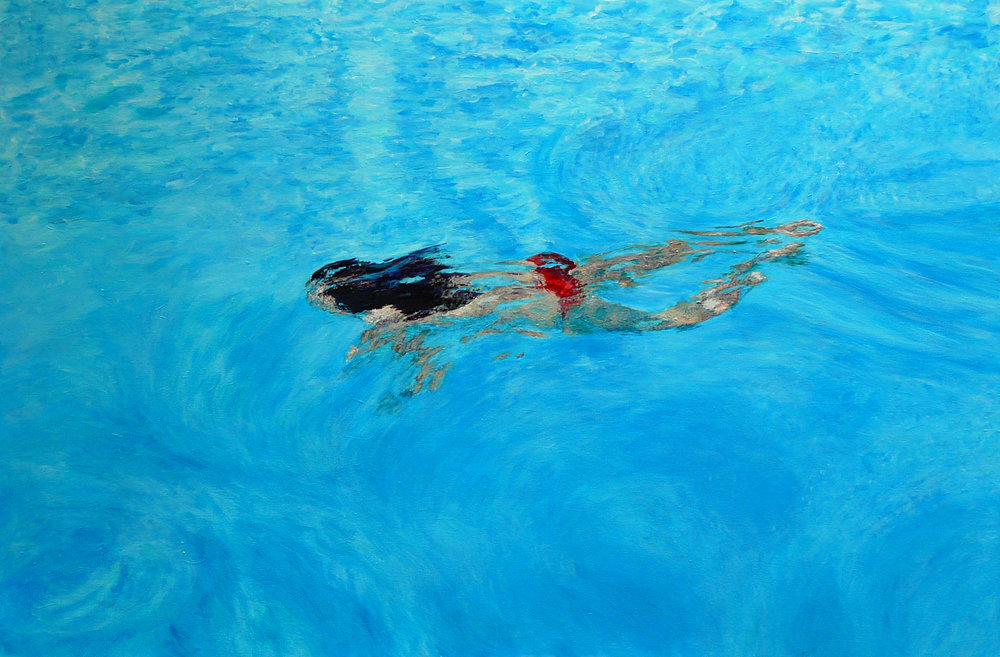 """Swim4"" Acrylic on Canvas 60""x40"""