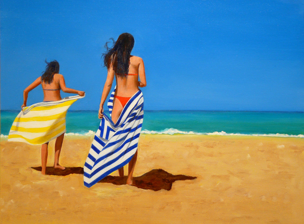 """Beach Girls"" Oil on Canvas 24""x20"""
