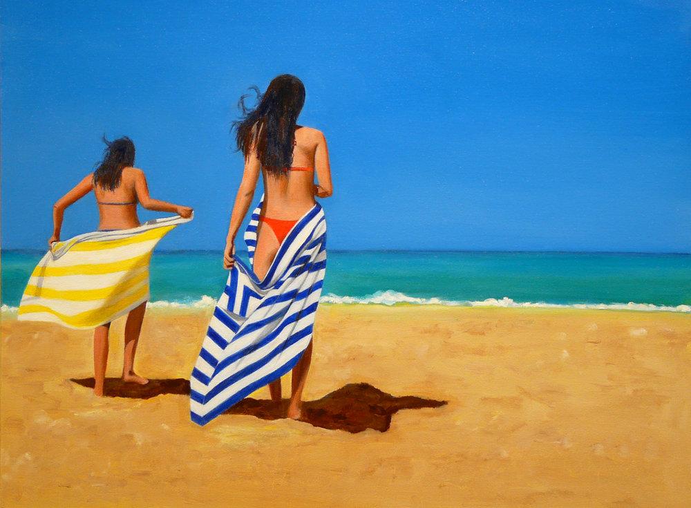 """Beach Girls"" Oil on Canvas 24""x20"""
