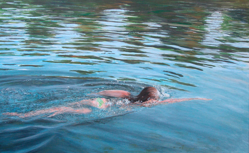 """Swim&Reflection"" Acrylic on Canvas 48""x36"""