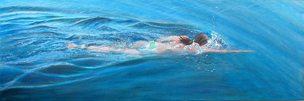 """Swim5"" Acylic on Canvas 60""x20"""