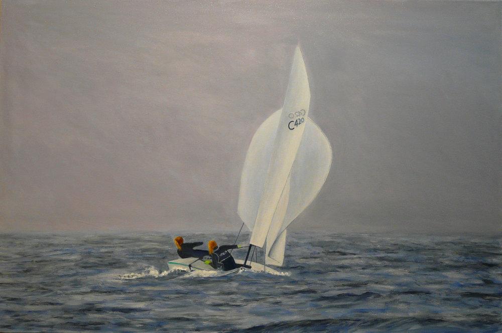 """Antonia&Georgia Oil on Canvas 36""""x24"""""""