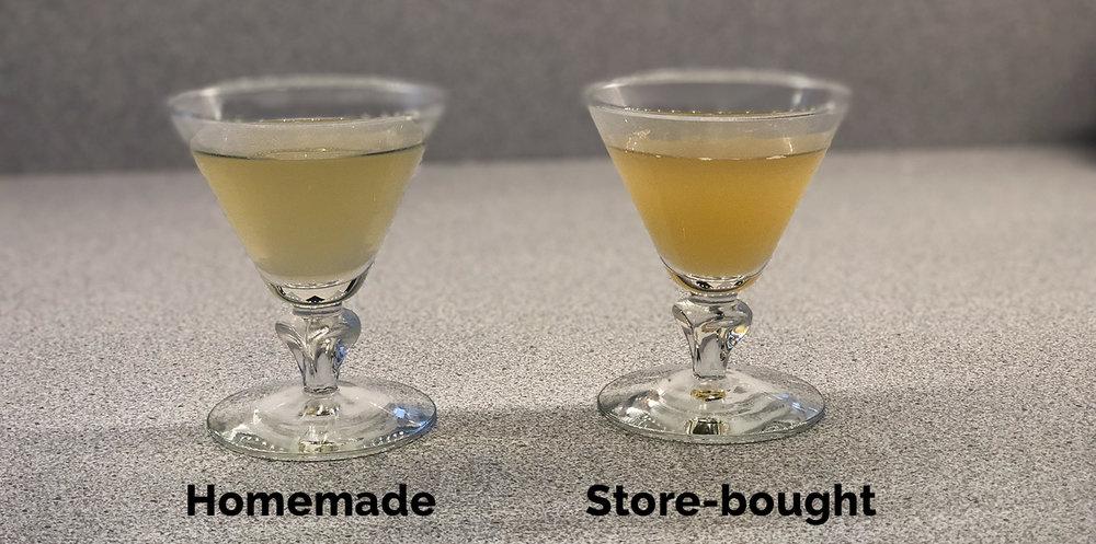 Stock taste test in fancy tiny martini (mar-tiny?) glasses.
