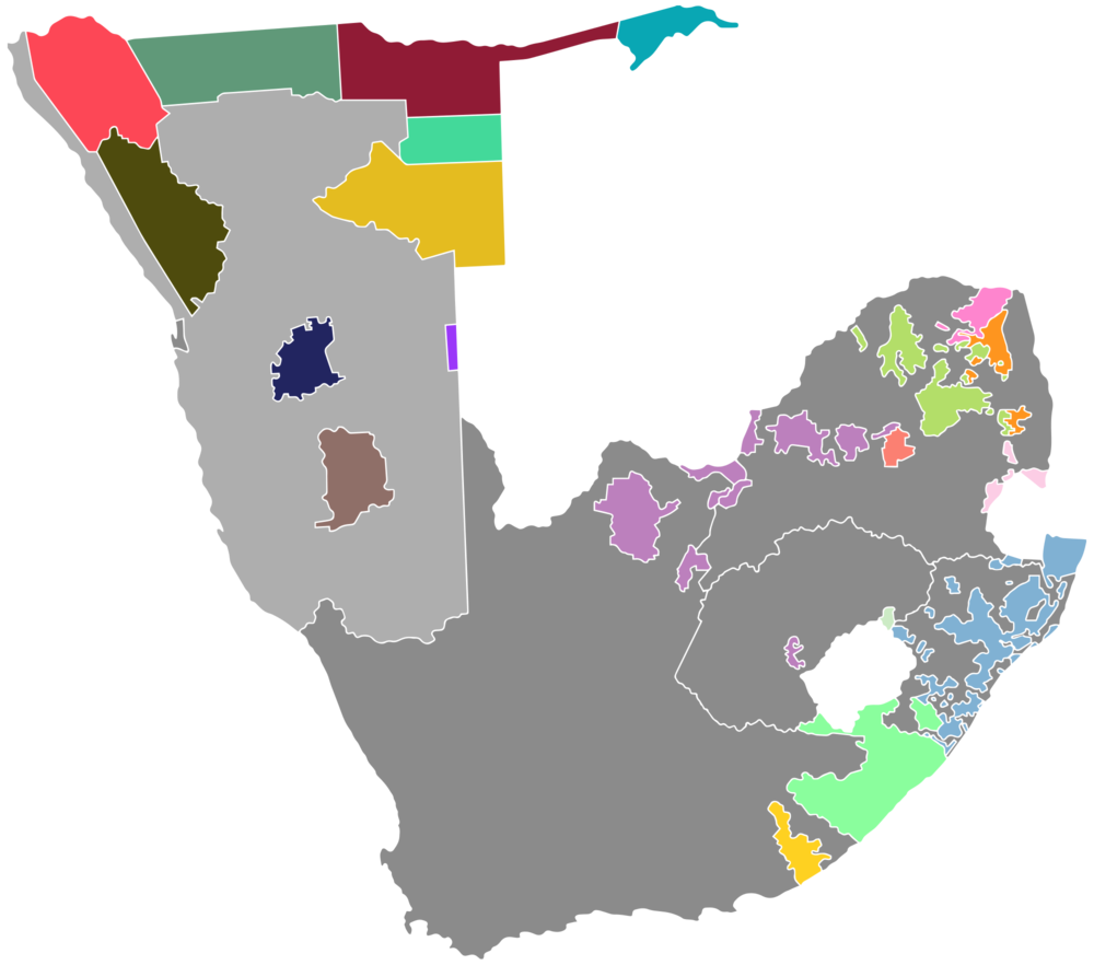 Bantustans in South Africa & Namibia - The 2 shades of grey are lands that white persons were able to use, while the coloured patches are lands that Black people were confined to.