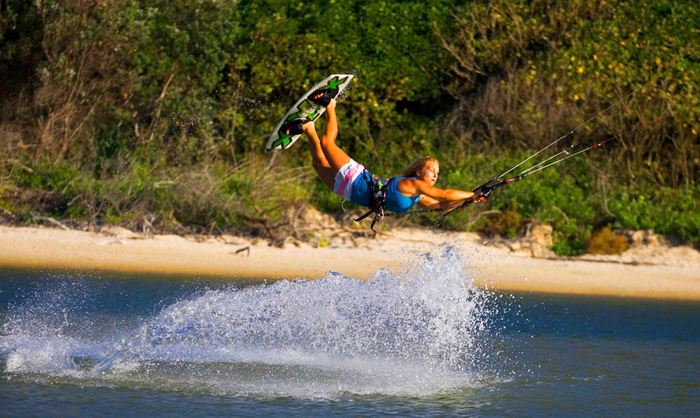 Kiteboarding on the gold coast, Australia.