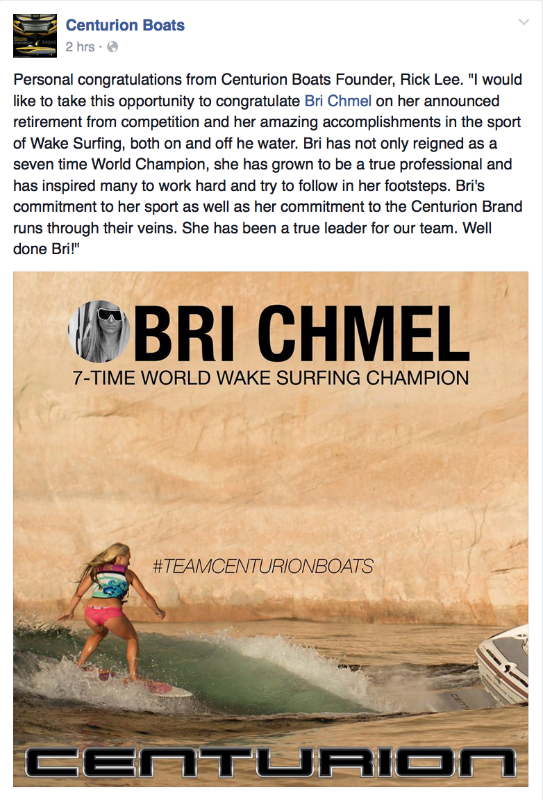 I retired from wakesurfing in 2015 while I was still the reigning 7x Women's World Wakesurf Champion.  Throughout my career I worked M-F in medical sales, and wakesurfing was my weekend job.  In 2015 I realized that my priorities were in Santa Cruz and I didn't want to be on the road anymore.  When I retired, the owner of Centurion Boats made this nice post.