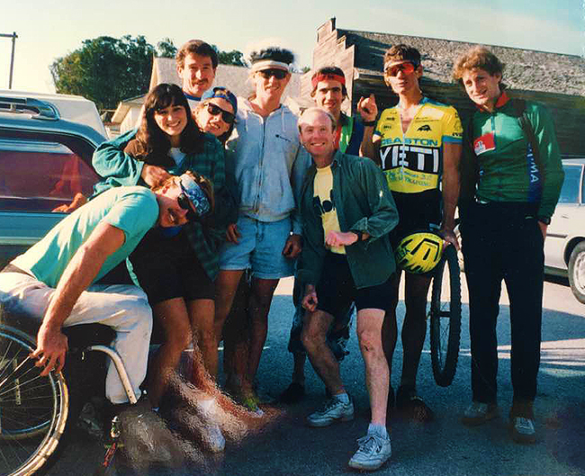 """John Brown, center, in the early 1990's. Him and his friends after a cycle cross race up at """"Big Creek Lumber sawdust piles"""" heading to Davenport Cash Store for some breakfast."""