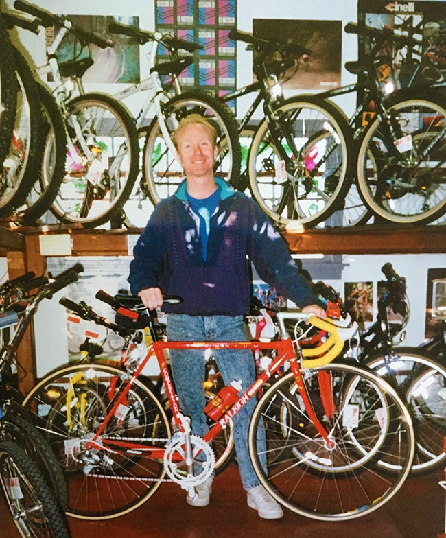 John with his new redwood bike racks that his good friend Allen made for the shop. Early 1990's.