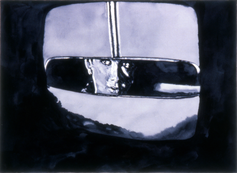 """Rear View Mirror,"" 1983; Watercolor on Paper; 22""X30"""