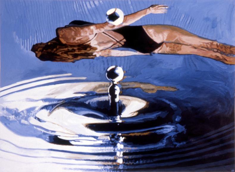 """""""Swimmer,"""" 1985; Casein on Paper; 22""""X30"""""""
