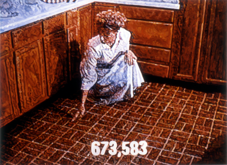 """673,583;"" 1987; Acrylic on Canvas; 40""X54"""