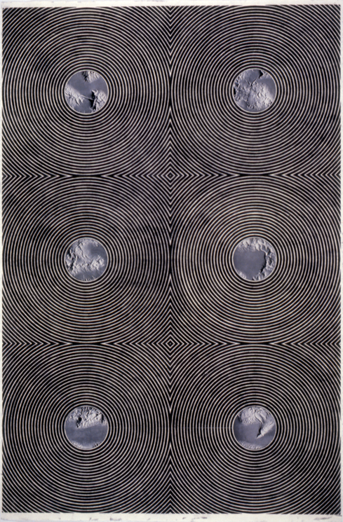 """Tread #17,"" 1996; Graphite Rubbing/Collage on Paper; 40""X26"""