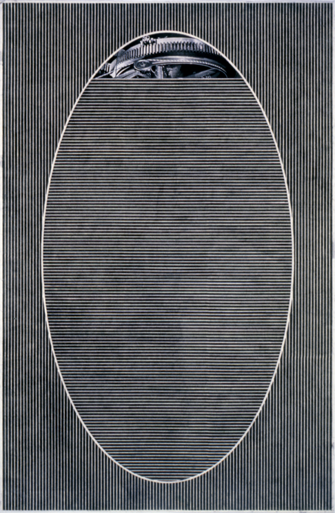 """Tread #13,"" 1995; Graphite Rubbing/Collage on Paper; 40""X26"""