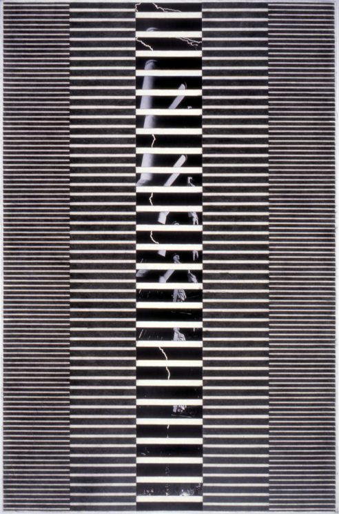 """Tread #10,"" 1995; Graphite Rubbing/Collage on Paper; 40""X26"""