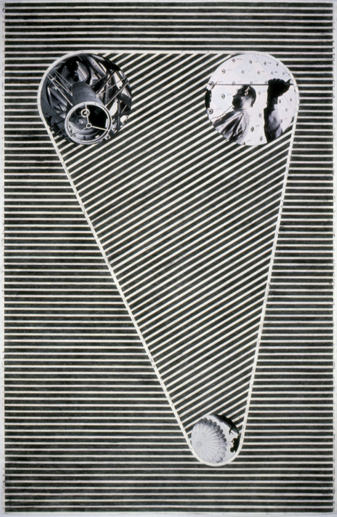 """Tread #2,"" 1995; Graphite Rubbing/Collage on Paper; 40""X26"""