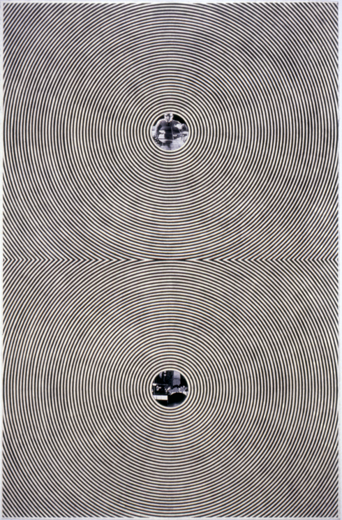 """Tread #14,"" 1995; Graphite Rubbing/Collage on Paper; 40""X26"""