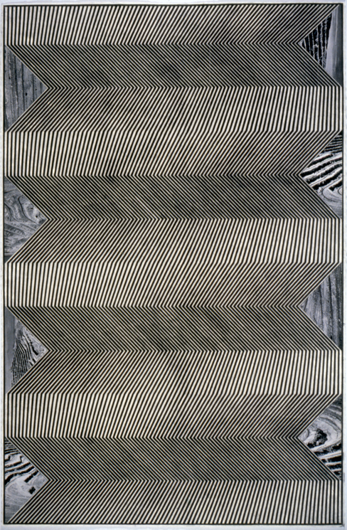 """Tread #23,"" 1996; Graphite Rubbing/Collage on Paper; 40""X26"""
