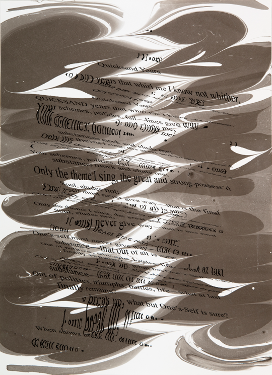 """Refraction Code - Quicksand Years #3,"" 2011; Digital Inkjet and Sumi-e Ink on Paper; 16"" X 22"""