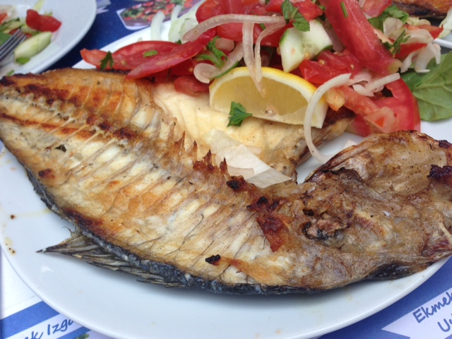 Sea Bream and stuffed clams, calamari and tiny fried red mackerel....yum.