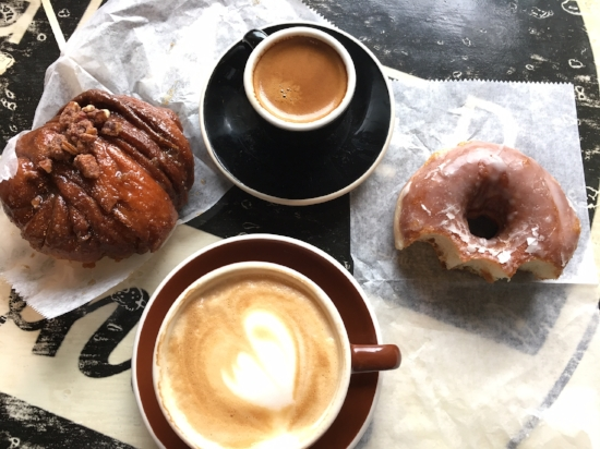 Donuts and coffee - pecan knot and classic sugar glazed