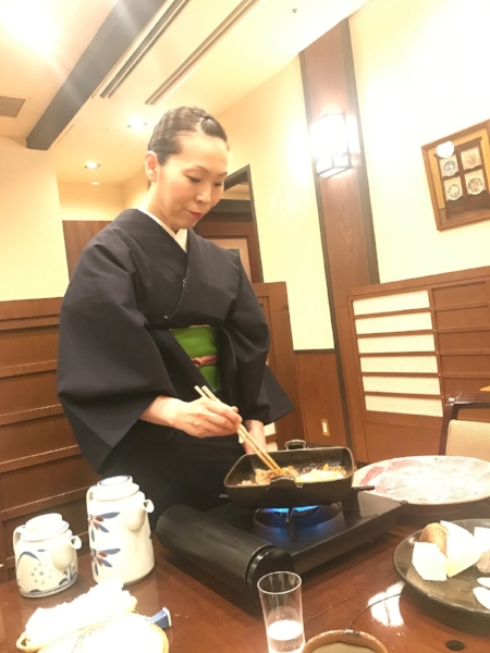 Traditional service during a Sukiyaki, or shabu-shabu meal
