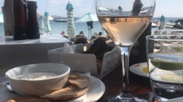 The best table at Nammos Beach Bar