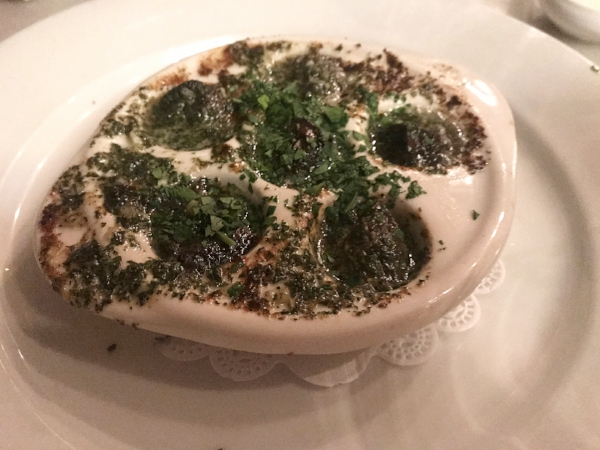 Hot and garlicky escargots at Bistro Jeanty