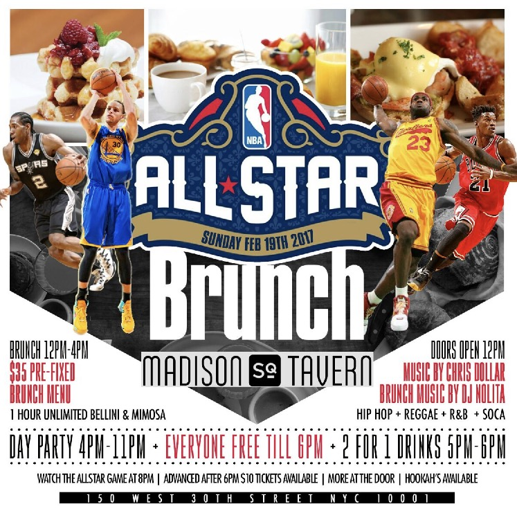 The #AOS is throwing me a welcome to the family brunch & I better see you there! BRUNCH VIBES: Sunday, Feb 19th 2017 All Star Sunday Brunch & Day Party at Madison Sq Tavern 150 W 30th St. NY, NY 10001 Doors open at 12pm Music by: @DJChrisDollar Brunch Music by: @DJNolita Brunch: 12-4pm $35 Prefix brunch menu with 1 hour of unlimited Bellini and Mimosa DAY PARTY VIBES: 4pm-11pm 2 for 1 drinks 5pm-6pm Everyone Free till 6pm Watch the ALL STAR GAME @ 8pm Advanced after 6pm $10 Tickets Available More @ the door!!! HOOKAH AVAILABLE ALL DAY call for reservations 347-873-6544  www.theallstarbrunchnyc.eventbrite.com/