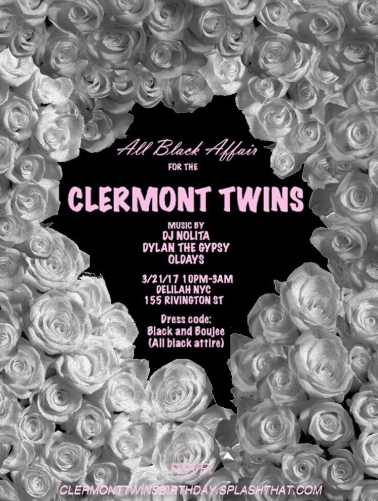 RSVP: CLERMONTTWINSBIRTHDAY.SPLASHTHAT.COM COME CELEBRATE THE #CLERMONTTWINS BIRTHDAY BASH WITH MYSELF SPINNING ALONGSIDE DYLANTHEGYPSY x ODALYS...IT'S GOING TO BE ALL BLACK DIAMONDS x MAGIC <3 DON'T MISS OUT GO RSVP!