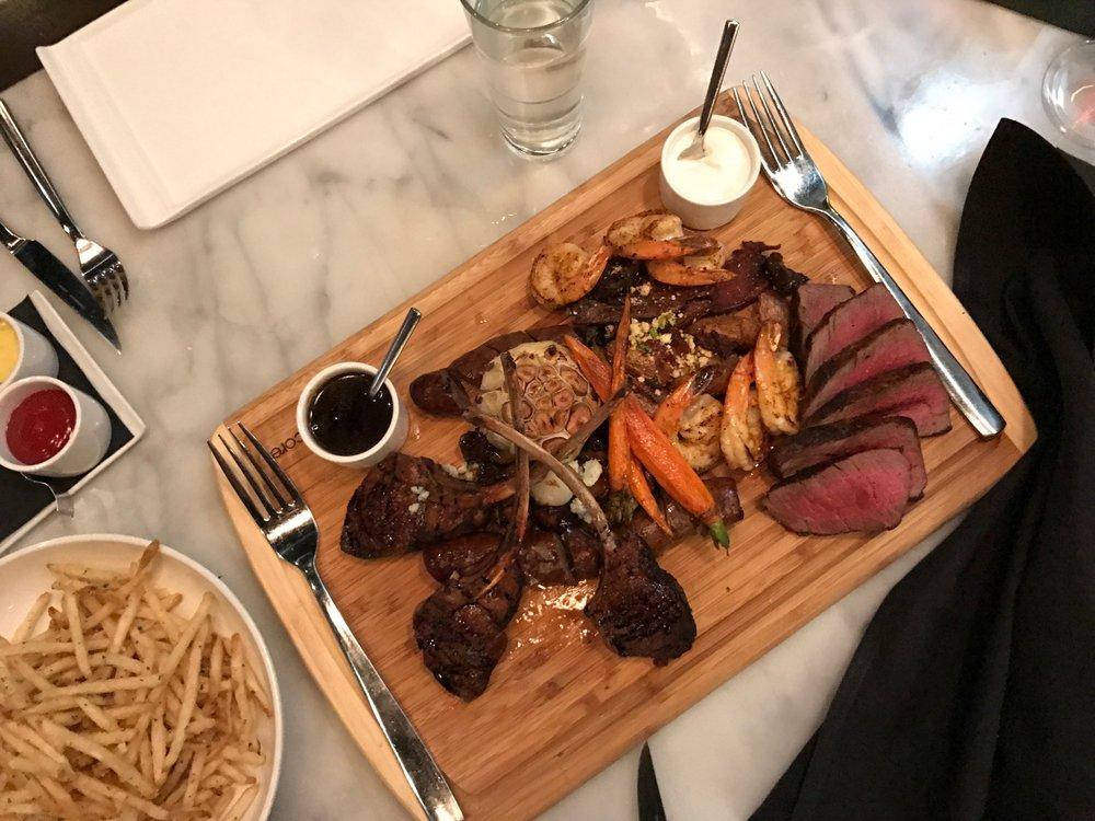 The Feast (Filet Mignon, Lamb, Shrip, Carrots, Garlic)+ Duck Fat Fries