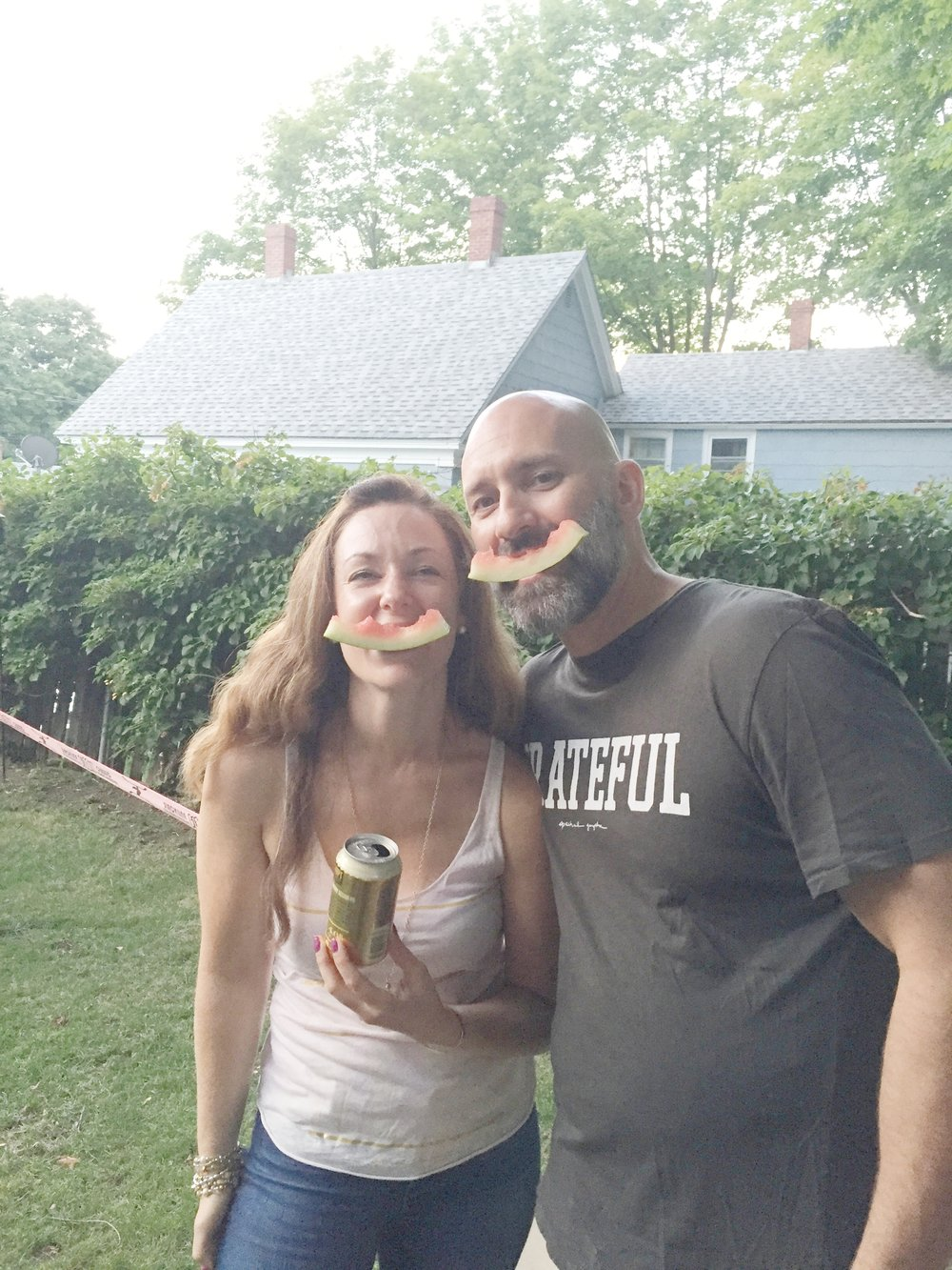 Watermelon smiles with my husband, Roger!