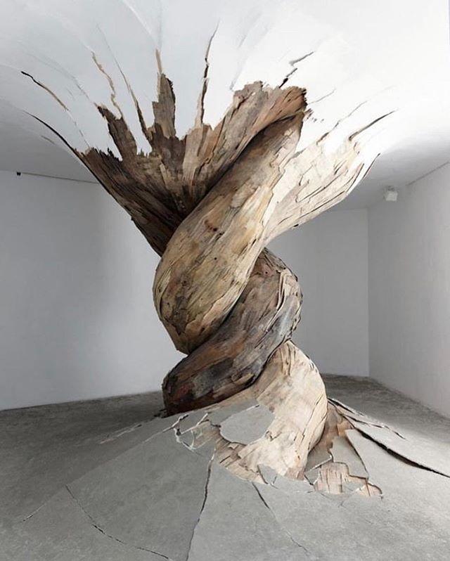 Feeling inspired •  @modernmeadow ・・・ Sculptural environment. 'Desnatureza,' ©️Henrique Oliveira 2011 📷 by Aurélien Mole . . . . . #brazilianartist #galerievallois #recycledmaterials #henriqueoliveira #desnatureza #denature #contemporaryart #nature #thisiszoa