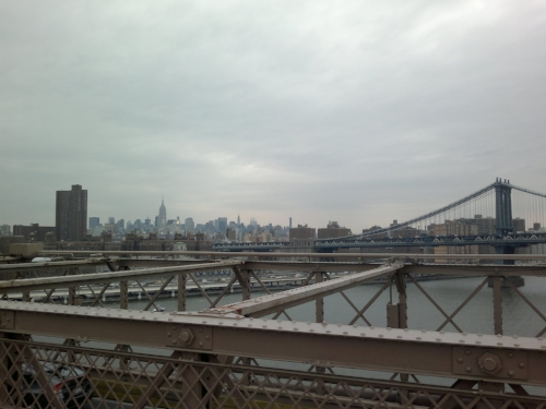 A view of New York from the Brooklyn Bridge