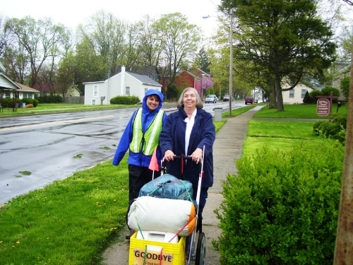 Tara's mom, walking and rolling.