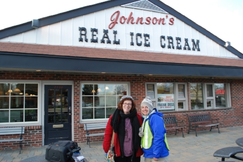 Sharon in front of Johnson's Real Ice Cream.