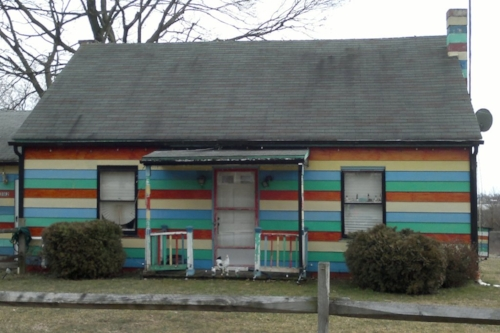 We found it! There isn't a pot-o-gold at the end of a rainbow. Just this house. The Rainbow Connection hath been made.