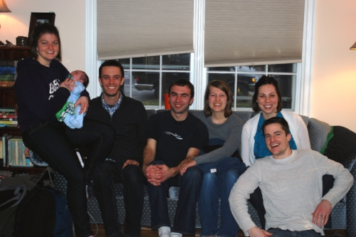 Kate (holding baby Caleb, Rachel and Michael's newborn son), Nate, Zach, Alicia, Rachel, and Michael