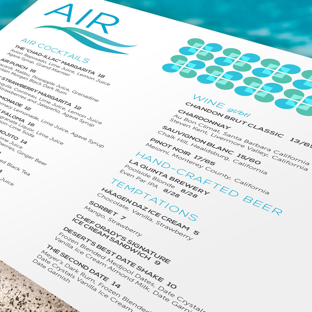 Hotel Air Pool Menu