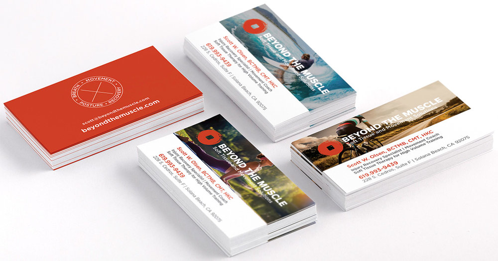 Business Cards:  I designed 6 different front sides to represent the various athletes {professional as well as everyday kinds} with a common back side.