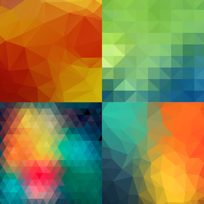 Colored triangles that form polygonal designs.