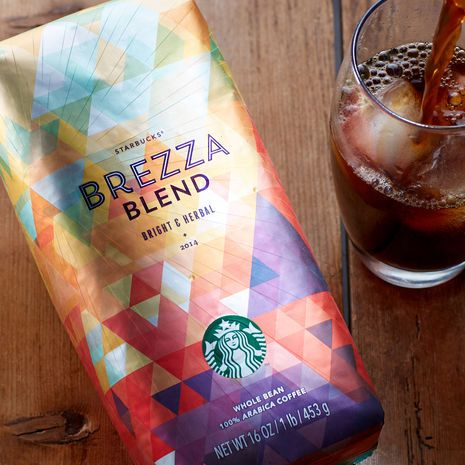 Starbucks' new coffee and packaging with polygonal design.