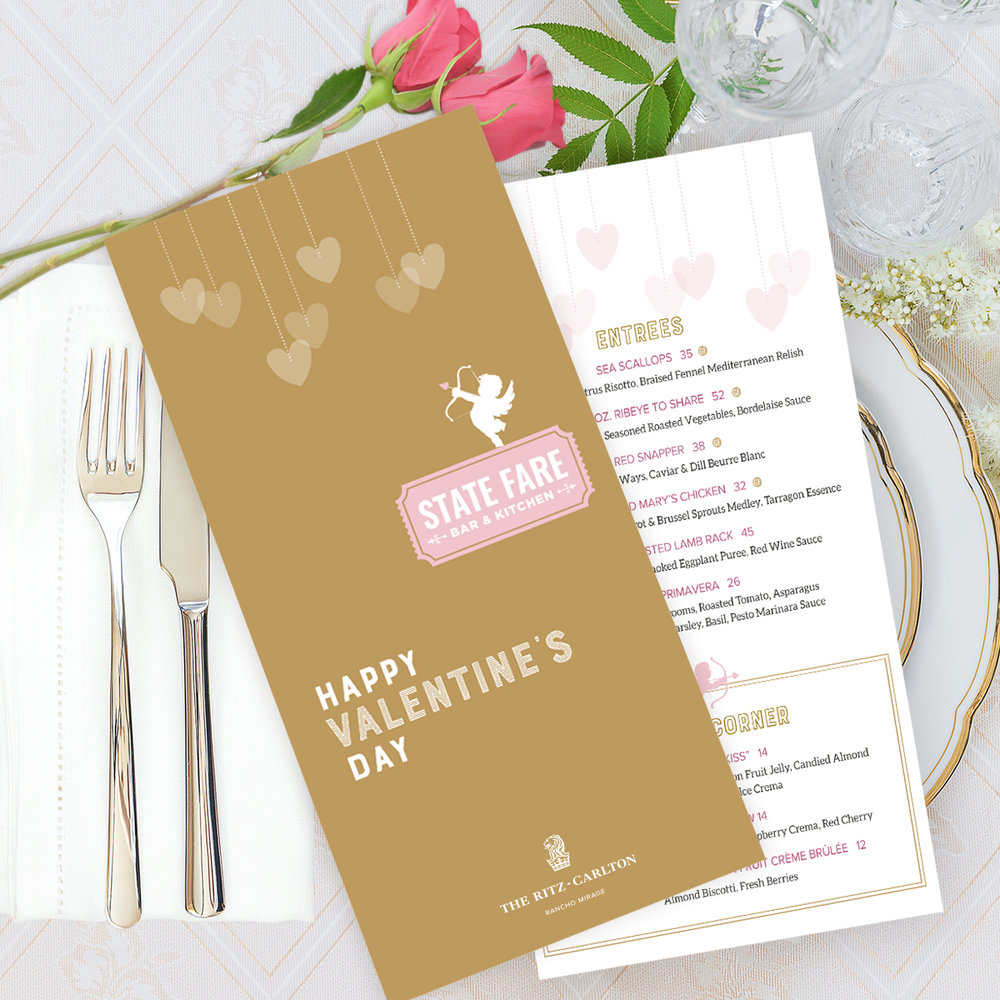 2018 Valentines Menu Design
