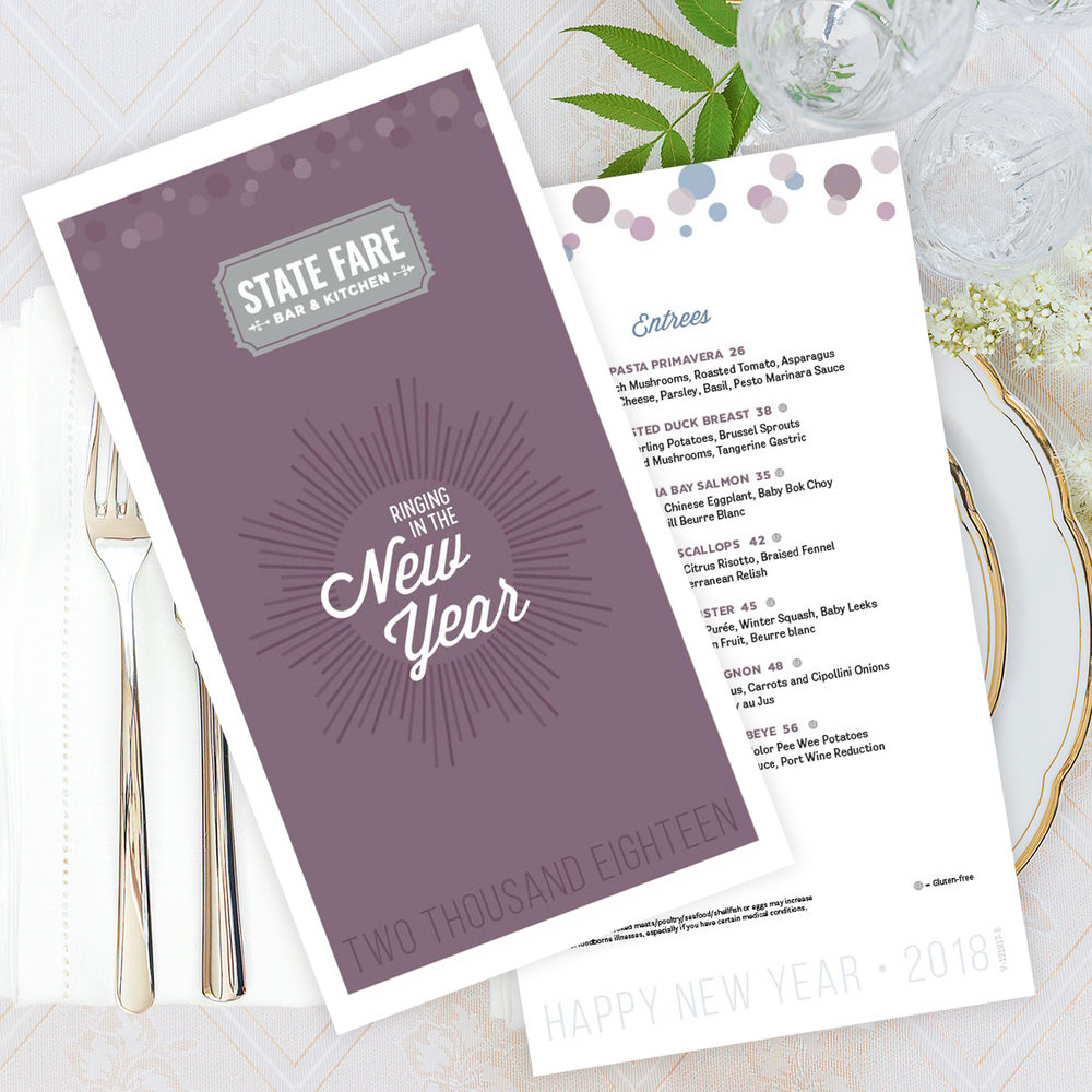 2017 New Year's Eve Menu Design