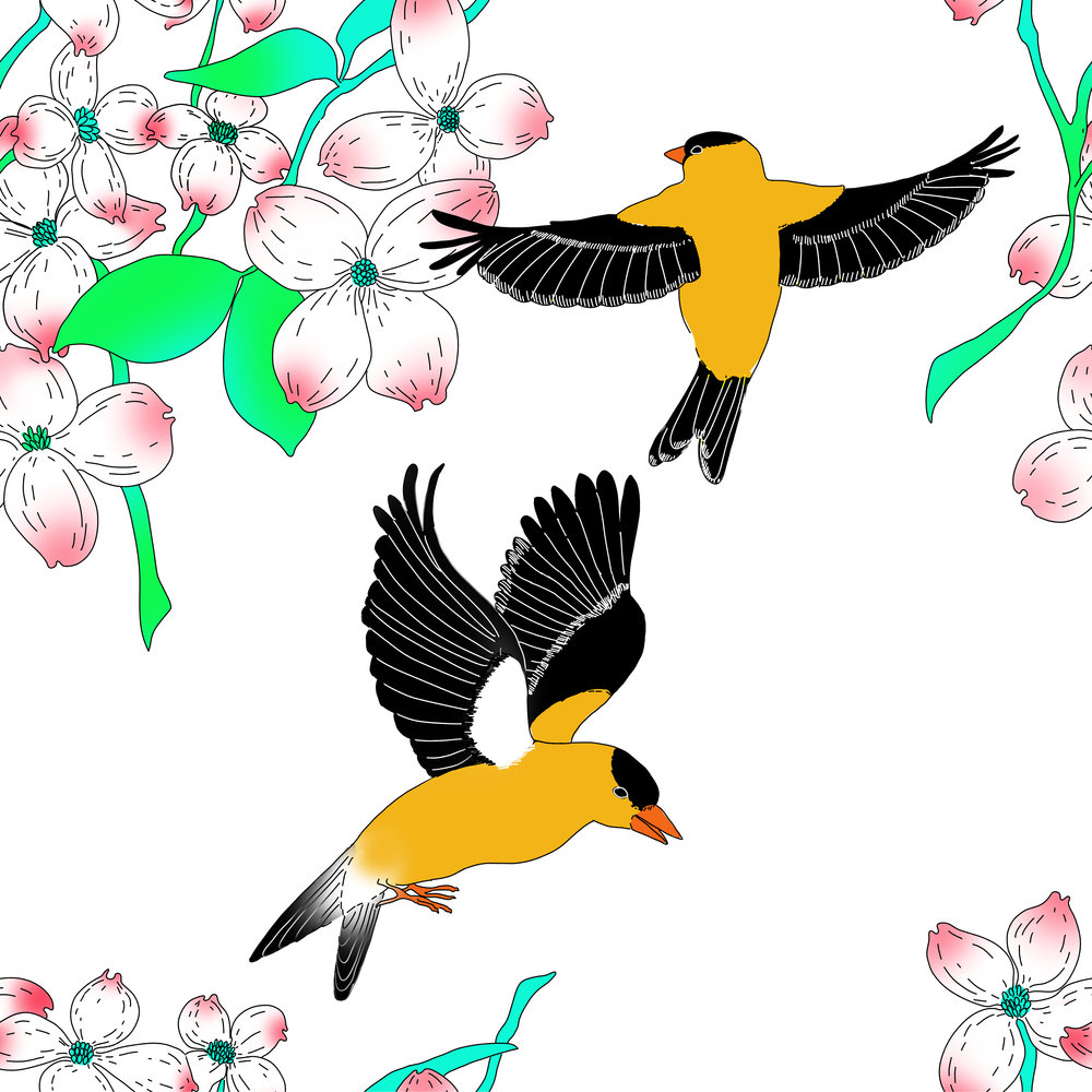 Goldfinch and Dogwood pattern
