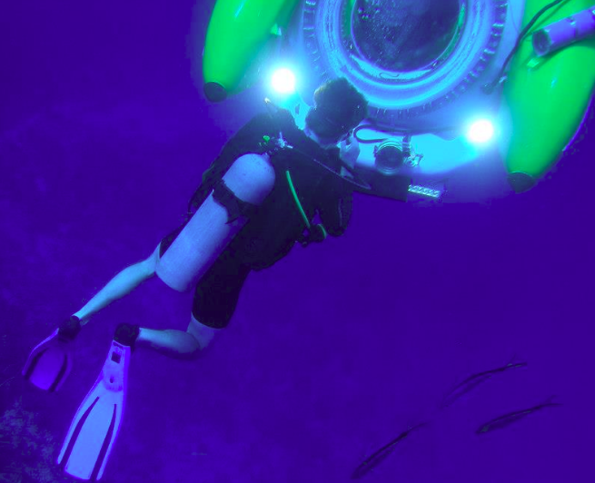 Thomas Trudel (Founder and Lead R&D Engineer at OutsideInnovation) Diving with Idabel at 180 ft to Inspect Newly Installed Systems