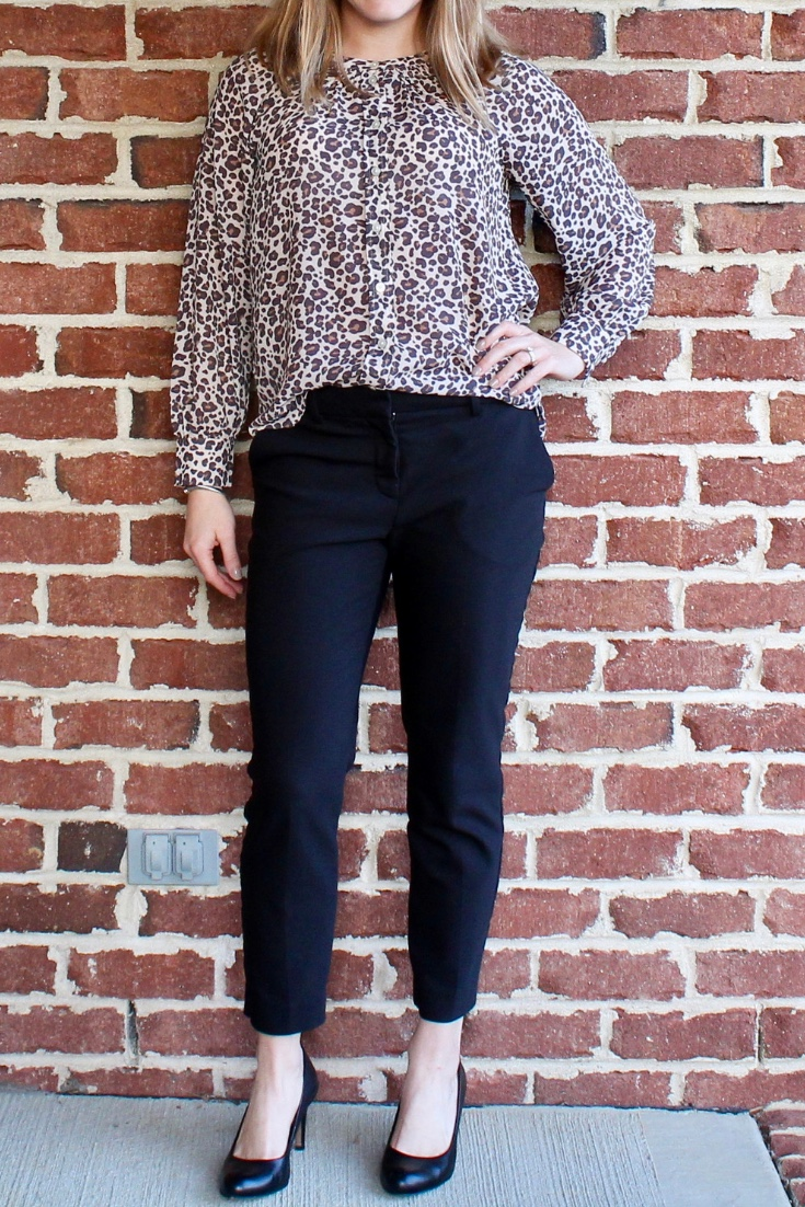 Classic work style: heels and leopard.
