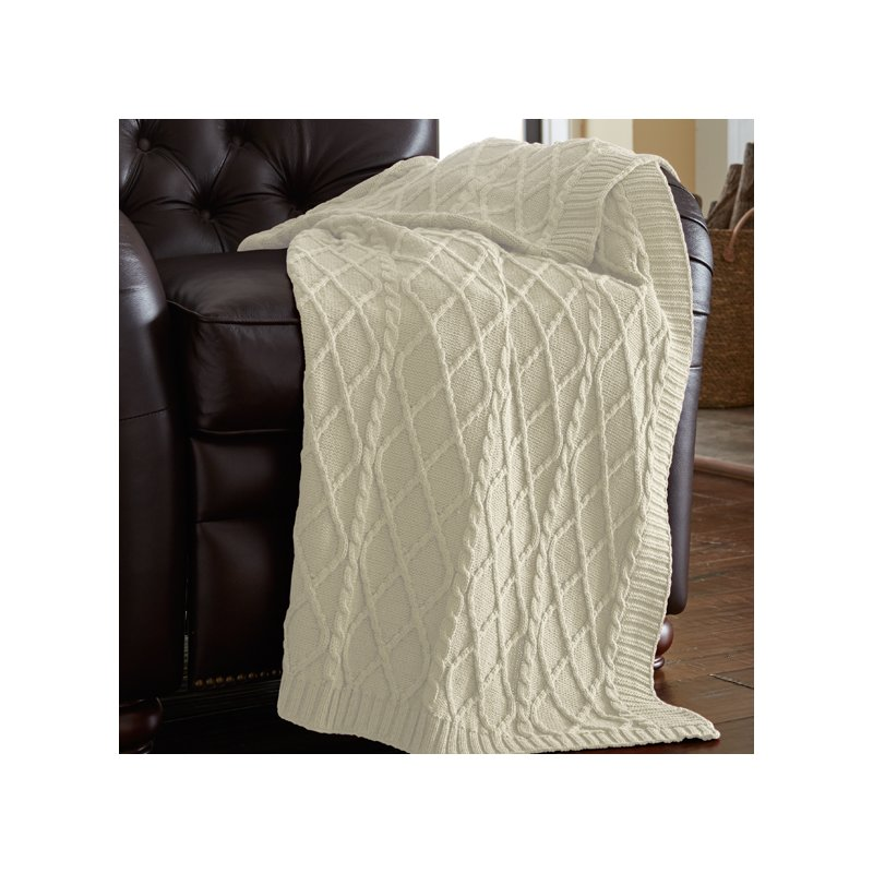 Greenburgh Cable Diamond Knit Throw
