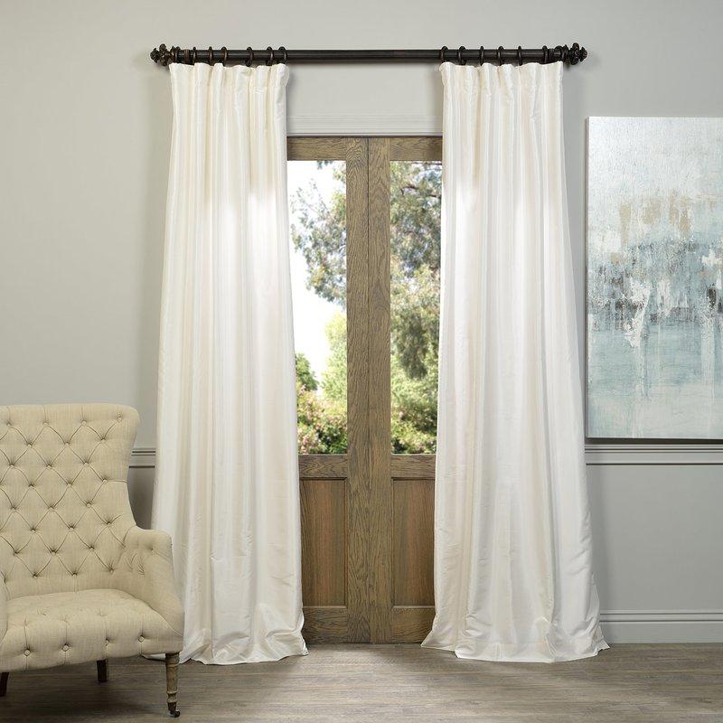 Sagunto Vintage Textured Faux Dupioni Silk Rod Pocket Single Curtain Panel